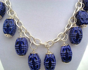 Cobalt Blue Carved  Big Ceramic and Silver Chandelier Necklace and Earrings