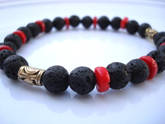 Reserved for Chi - Men's Black Lava Stone Bracelet - Red Coral -  Antique Brass Beads - Stability, Protection and Energy