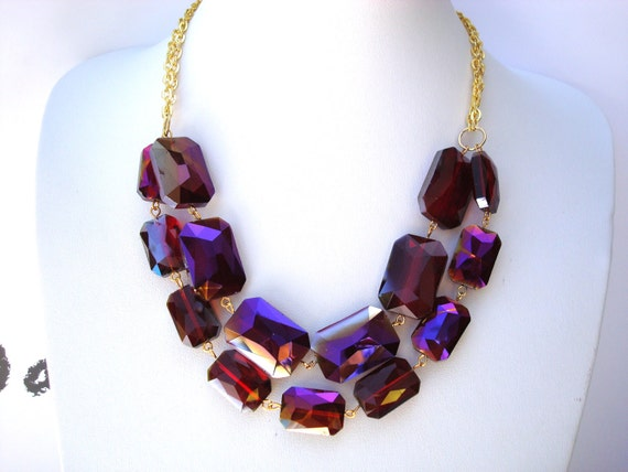 Chunky Ruby Bib - Double Strand Chunky Necklace Faceted Ruby Aurora Borealis Crystals and Chain Necklace