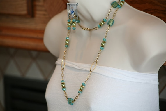 Aqua and green together with antique gold  chain long necklace set with free earrings