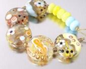 Handmade Funky  Lampwork Glass Bead Set SRA  FHFteam Y3 GBUK UK Seller  Cpteam