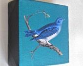 Blue bird mixed media mini painting on canvas