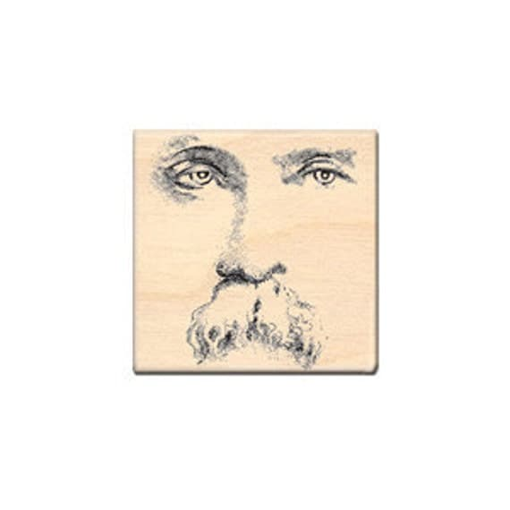 Face Uncle Enos old photo man mustache River City Wood mounted rubber stamp