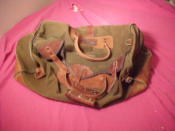 Orvis Fishing Duffle Bag Vintage Canvas and Leather 24x17x11