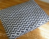 "42"" Custom Dog Bed Cover - Navy Blue Chevron - Designed to Fit Your Dog's Bed - Made to Order"