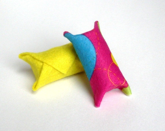 Upcycled Cork & Felt Cat Toys  -Bouncy, Modern, Funky,  Bright-