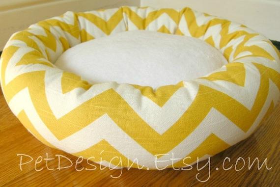 "One-Piece 15"" - Dog Bed - Cat Bed - Yellow & White Zig Zag, Chevron with Soft Minky Fleece"