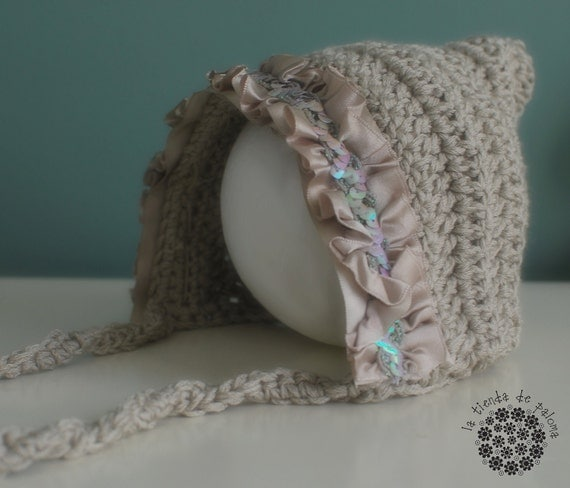 Crochet baby hat - Baby Photo Prop - Bonnet hat - Pixie hat