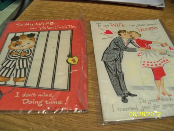 Ten Vintage Valentine Cards from 1950-60 - Used with Messages in Plastic Sleeves