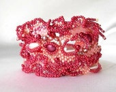 Reserved for Ksenia - Freeform peyote beaded bracelet,  Beadwork, pink, mauve and bourdon, ooak jewelry Unique gift by Ibolya