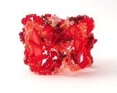 Reserved for Ksenia - Freeform Peyote Beaded Bracelet Red and coral Valentines day OOAK jewelry
