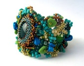 Beaded jewelry. Freeform Peyote Beaded Cuff Bracelet withTurquoise Green Blue Cream Gold Colors, Unique Spring Fashion, OOAK