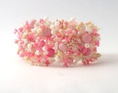 Pink Beaded Bracelet, Beadwork Bracelet, seed bead jewelry, freeform peyote bracelet, seed bead bracelet, handmade jewelry