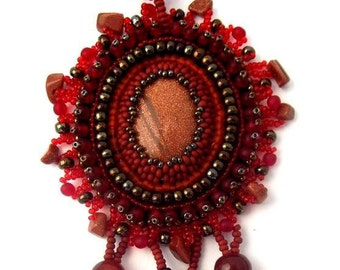 Bead embroidered pendant, Red pendant,  Beaded jewelry, Beadwork necklace, Seed bead necklace, Unique gifts