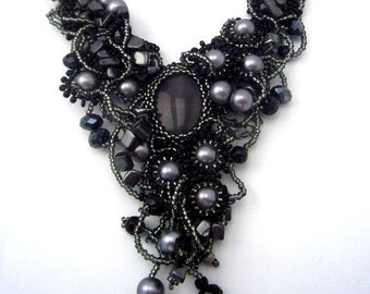 Black necklace, Black jewelry, Gift for women, Beaded jewelry, Seed bead necklace, Statement necklace, Unique gifts for her, Beadwork