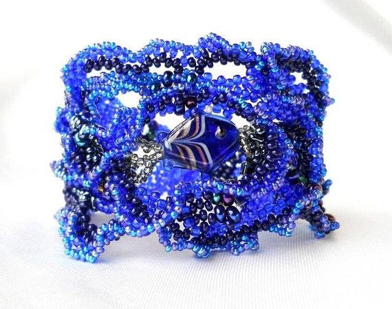 Beaded bracelet, freeform peyote cuff  bracelet, OOAK - dark blue, royal blue, cobalt blue, unique gift