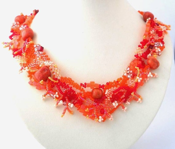 Orange beadwork necklace, Seed bead jewellery, Freeform beaded jewelry, unique handmade gifts