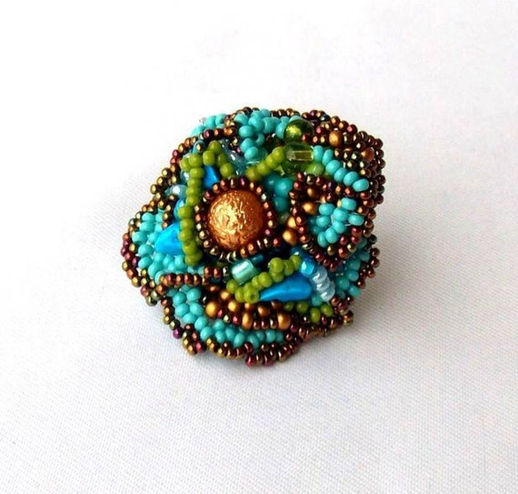 Freeform Beaded Ring, Turquoise Blue Green Brown Gold Colours, Summer fashion, Unique gifts for her OOAK jewelry