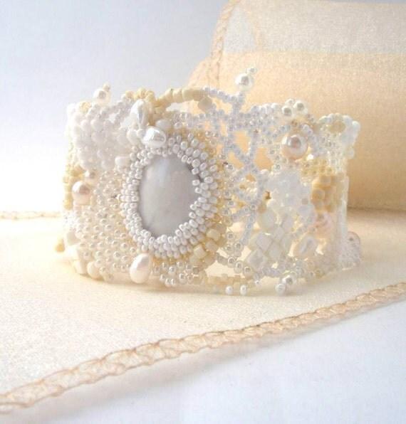 Beadwork bracelet, Beaded bracelet, Seed bead jewelry, White beaded cuff bracelet, freeform peyote bracelet, bridal