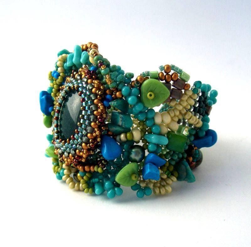 Beaded Jewelry Freeform Peyote Beaded Cuff Bracelet