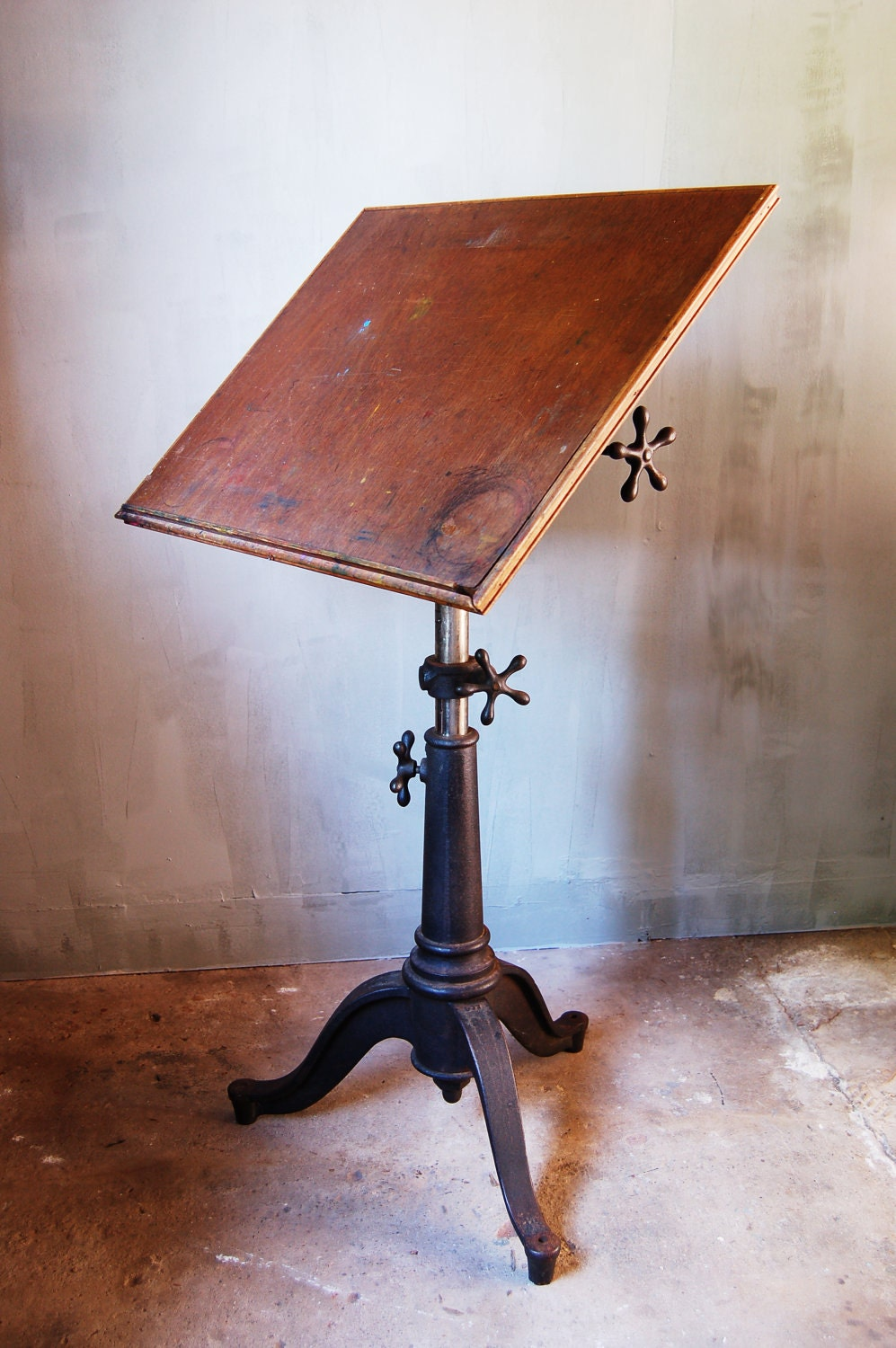 Vintage Industrial Drafting Table With Cast Iron Base