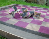 Wooden Checker Board Game Rustic Checkers Fuschia Black Cabin Primitive Lake House Country Wood Shabby Chic