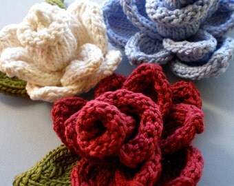 PDF Knit Flower Pattern - Rose Knit Flower