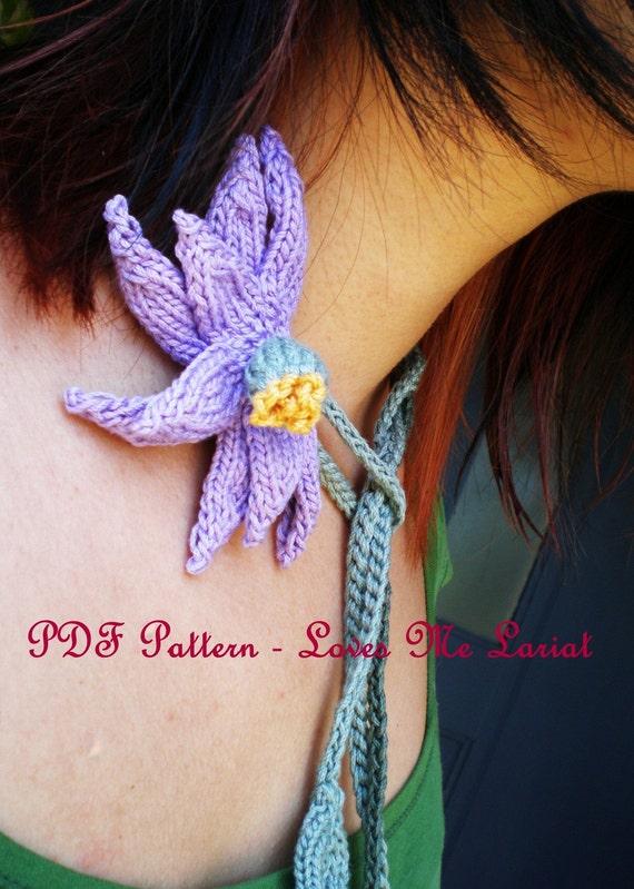 PDF Knit Flower Pattern - Daisy Flower - Loves Me Lariat Necklace