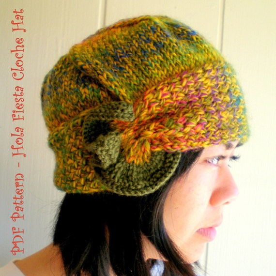 Knitting Pattern Wooly Hat : PDF Knitting Pattern Wool Cloche Hat Hola Fiesta