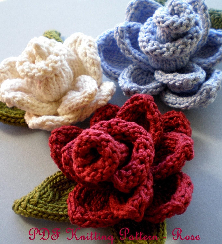 Pdf Knit Flower Pattern Rose Knit Flower