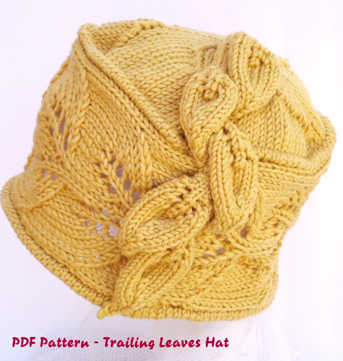 Double Leaf Knitting Pattern : PDF Knitting Pattern Wool Lace Cloche Hat Trailing Leaves