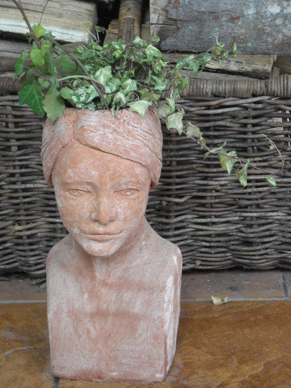 Heather Custom Order Head Planter Head Of Woman Red