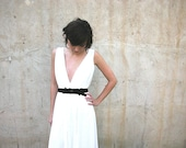 wedding dress/beach wedding/boho weddong dress/garden wedding boho wedding dress with deep V neck cleavage and jewelry sash