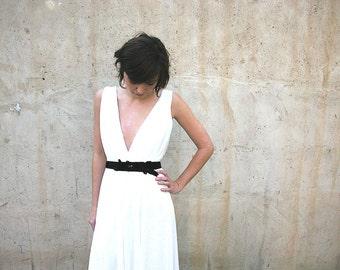 wedding dress, beach wedding, garden wedding boho wedding dress with deep V neck cleavage and jewelry sash