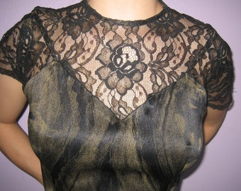 vintage 1980s cocktail dress with lace detail goth avant garde size medium