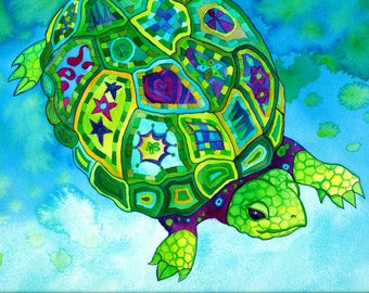 Tortidelic Print (turtle in psychedelic purple green blue and aqua watercolor patterns)