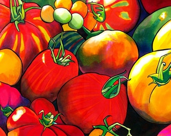 Tomatoes Print (Heirloom Fruit Kitchen Marker and Ink Drawing in Red, Orange, Yellow, Green and Violet)