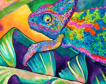 Neon Chameleon Print (Psychedelic Rainbow Neon Lizard Marker and Ink Drawing)