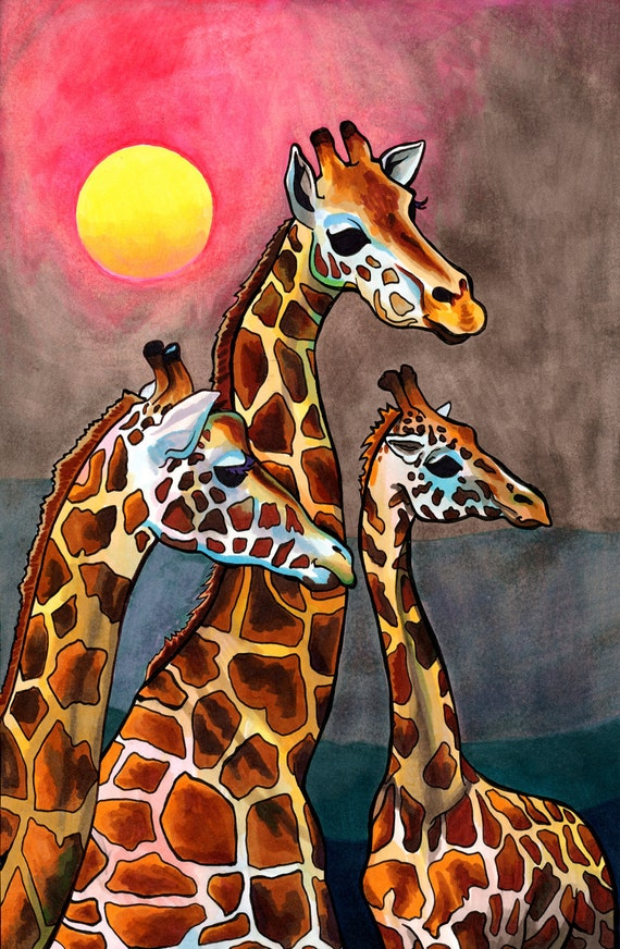 Gnostic Giraffes (Graceful African Creatures Illustrated in Gold, Violet, Neon and Brown Copic marker at Sunrise)