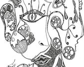 """Bell's Palsy 5"""" x 7"""" Black and white print"""