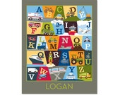 Personalized Transportation Alphabet Poster - On The Go Charcoal Grey