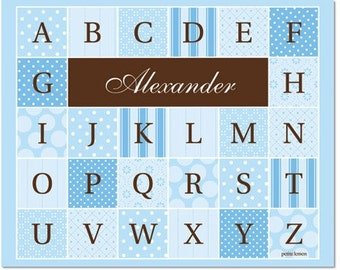 Personalized Alphabet Poster - Quilted Delight Soft Blue