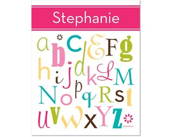 Personalized Alphabet Poster - All Mixed Up Uber Pink