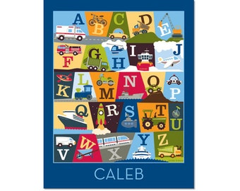Personalized Transportation Alphabet Poster - On The Go Deep Blue - Gallery Wrapped Canvas