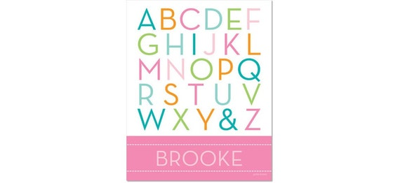 Personalized Alphabet Poster - School Days Cotton Candy Pink