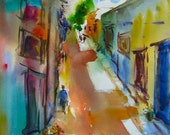 "Colorful World, Original Watercolor Painting Cityscape, Large 30"" x 22"", Free Shipping within USA"