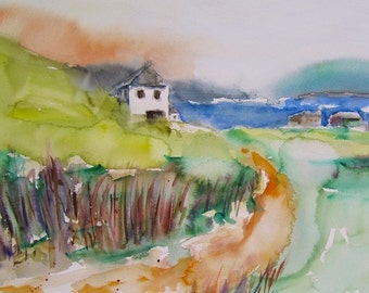 """Sunrise on the Island, Original Watercolor Painting Landscape, Large  22"""" x 19.5"""",  Free Shipping within USA"""
