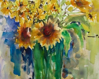"""Original Watercolor Painting Flowers, Large  30"""" x 22"""" Sunflowers Green Vase Expressionist,  Free Shipping within USA"""