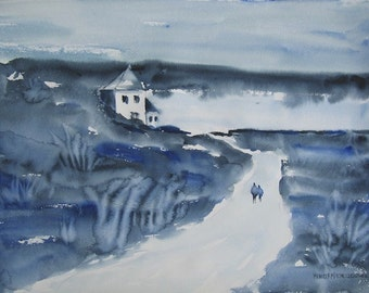 """Lover's Holiday, Original Watercolor Painting Landscape, Large  22"""" x 30"""",  Free Shipping within USA"""