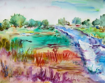 """Meadow, Original Watercolor Painting Landscape, Large 22"""" x 30"""", Free Shipping within USA"""